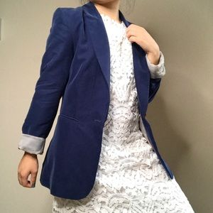 H&M Navy Cuffed Fitted Blazer